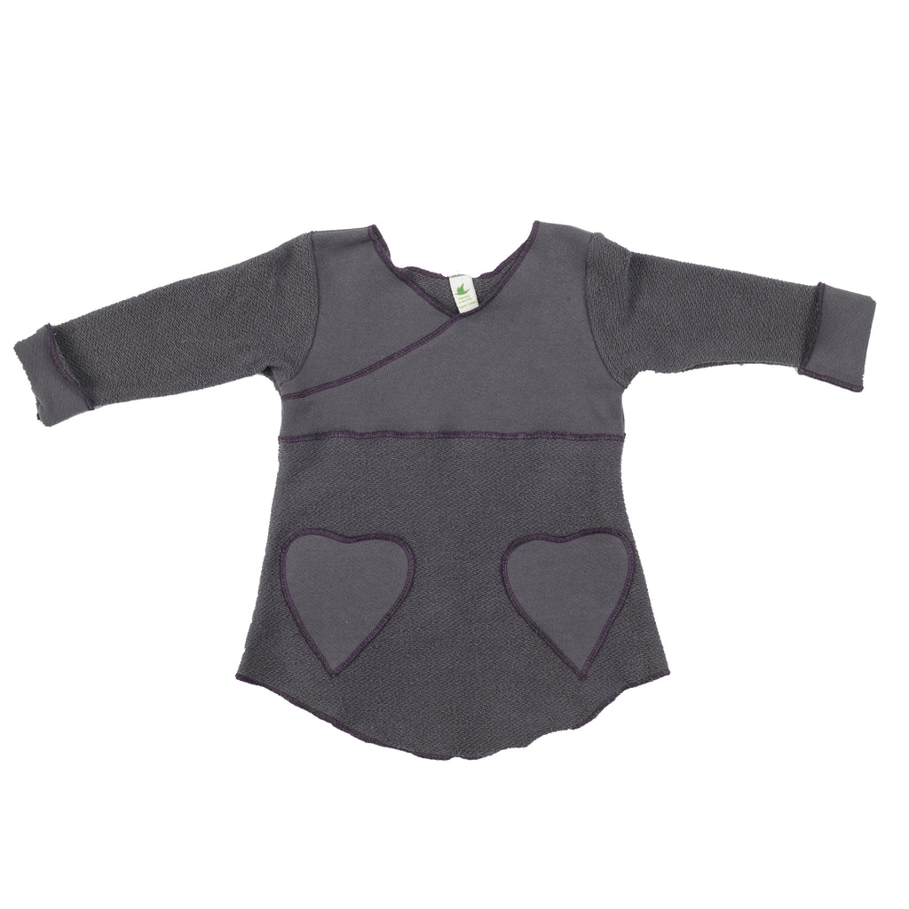 Organic Cotton | Heavy Terry Heart Pocket Tunic Sweatshirt | Graphite | USA Made
