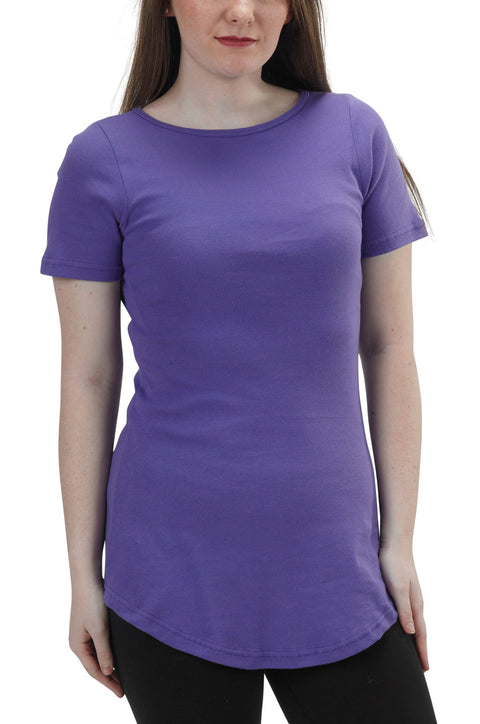 Women's Organic Cotton Short Sleeve Maddi Tee - Amethyst - USA Made