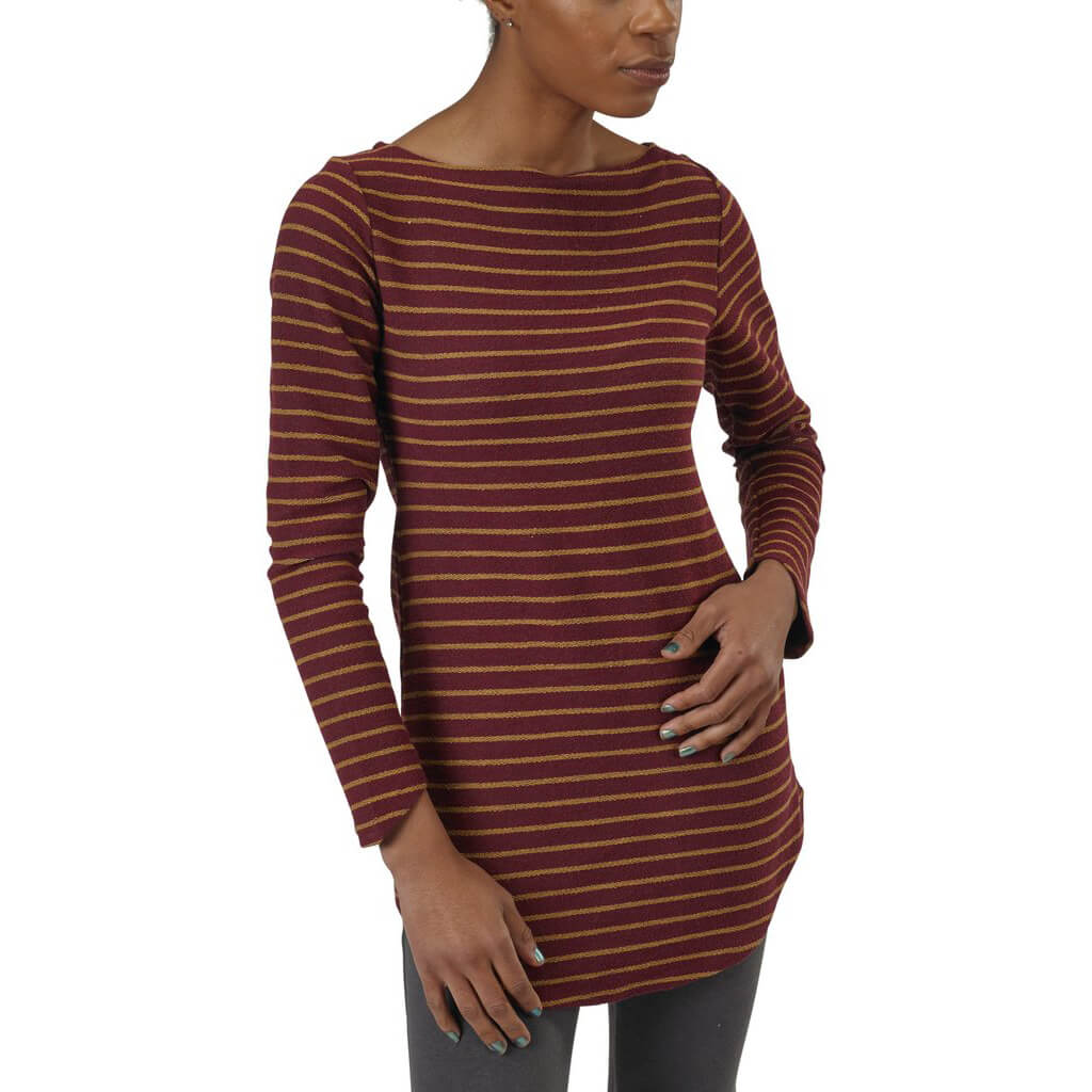 Women's 50/50 Maddi Tunic Sweatshirt - Burgundy Stripe - USA Made - Asheville Apparel