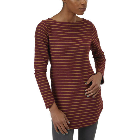 Women's 50/50 Maddi Tunic Sweatshirt - Burgundy Stripe - USA Made