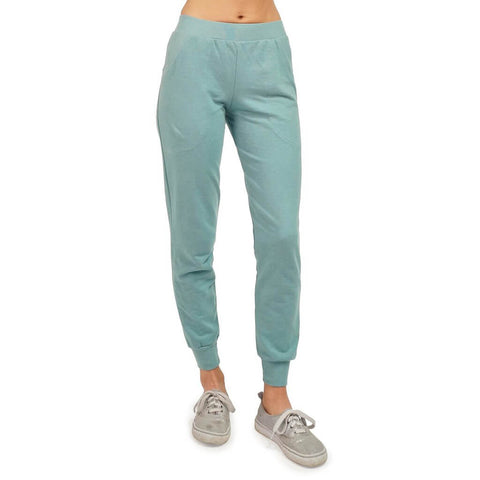 Women's Organic Cotton Lightweight Jogger Pants - Smokey Teal - USA Made