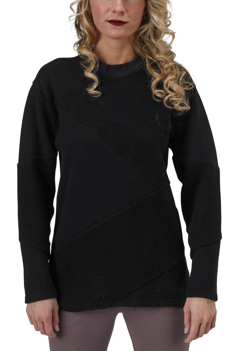 Women's Organic Cotton Asymmetrical Crewneck Sweatshirt - Black - USA Made - Asheville Apparel