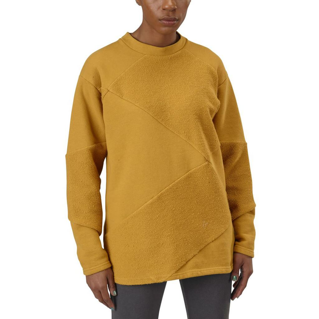 Women's Organic Cotton Asymmetrical Crewneck Sweatshirt - Honey - USA Made