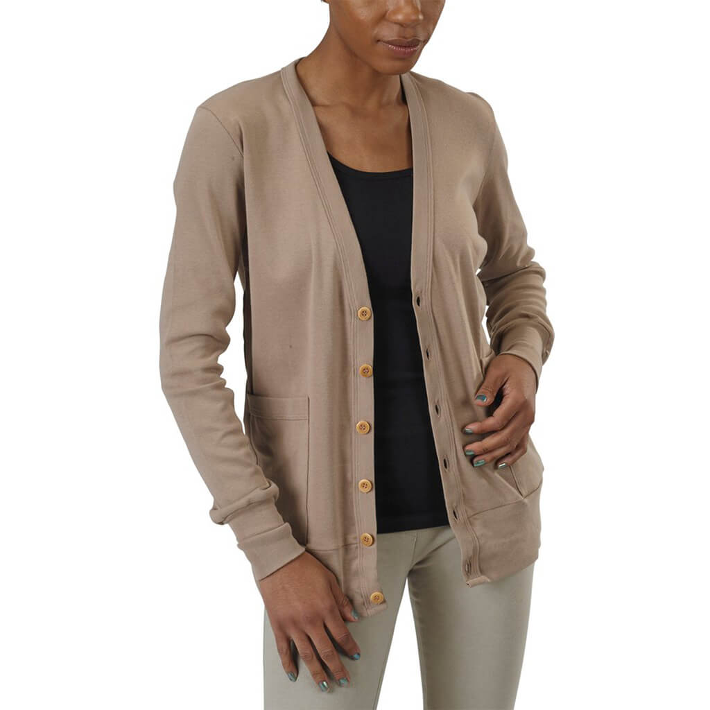Women's Organic Cotton Craggy Garden Cardigan - Taupe - USA Made - Asheville Apparel