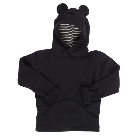 Kids Organic Cotton Fleece Pullover Hoodie - Black Bear - USA Made - Asheville Apparel