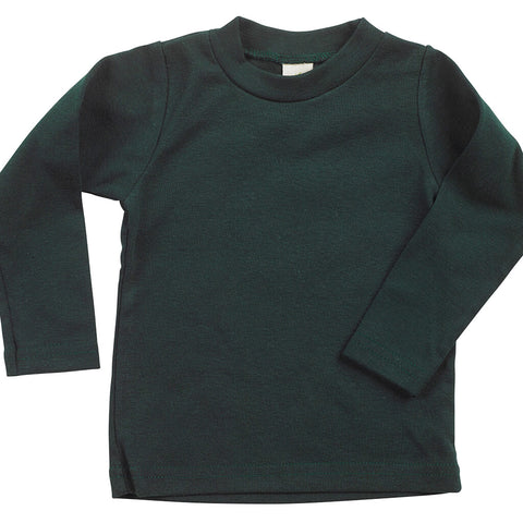 Kid's Organic Cotton Long Sleeve Perfect Crewneck Tee - Scarab Green - USA Made - Asheville Apparel