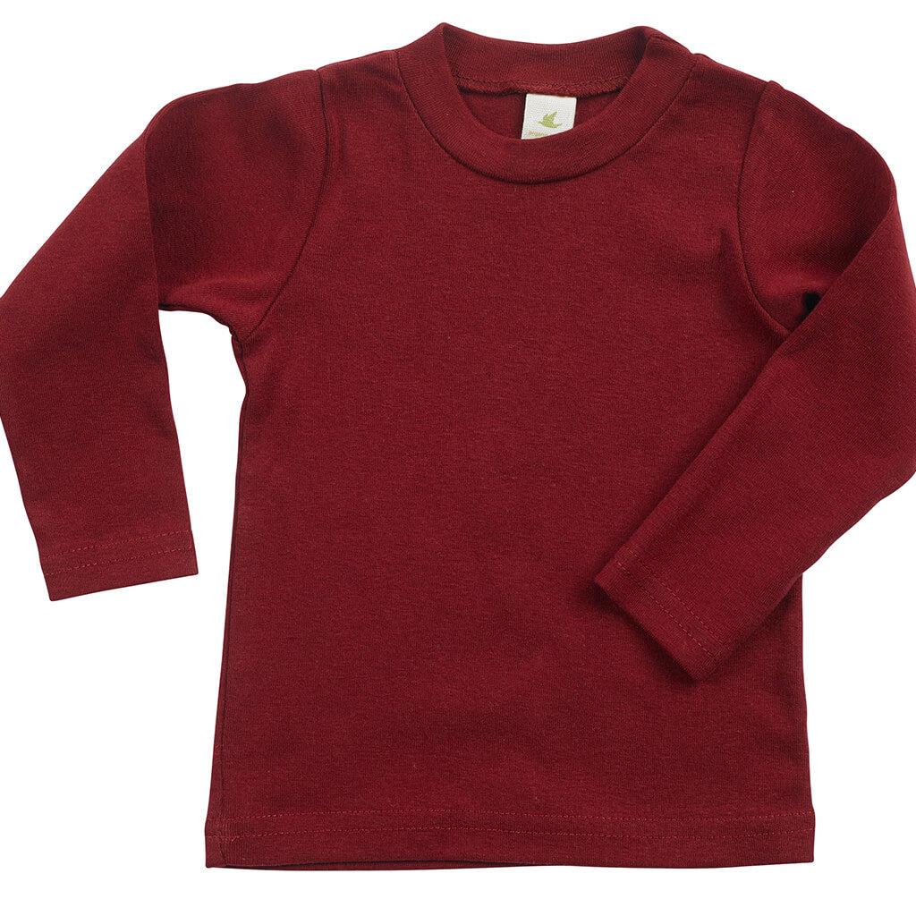 Kid's Organic Cotton Long Sleeve Perfect Crewneck Tee - Syrah Red - USA Made - Asheville Apparel