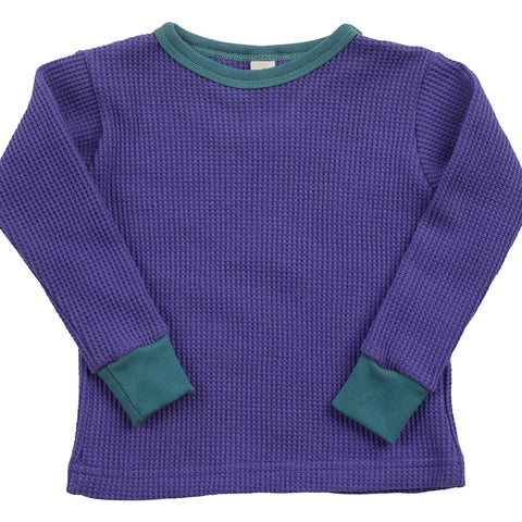 Kid's Organic Cotton Long Sleeve Heavyweight Thermal Crew Neck Tee - Amethyst - USA Made - Asheville Apparel