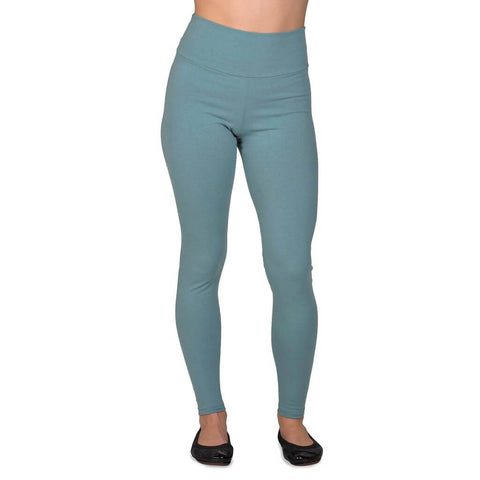 Women's Organic Cotton/Lycra Leggings - Smokey Teal - USA Made