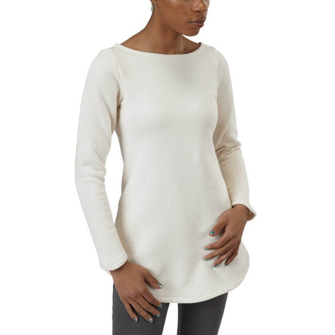 Women's Organic Cotton Maddi Tunic Sweatshirt - Natural - USA Made - Asheville Apparel