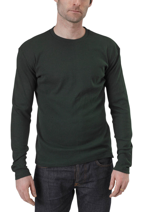 Men's Organic Cotton Long Sleeve Perfect Crewneck Tee - Scarab Green - USA Made - Asheville Apparel
