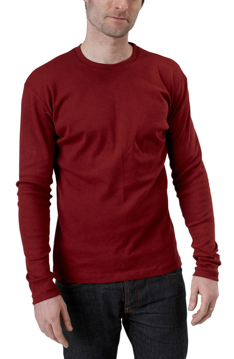 Men's Organic Cotton Long Sleeve Perfect Crewneck Tee - Syrah - USA Made - Asheville Apparel