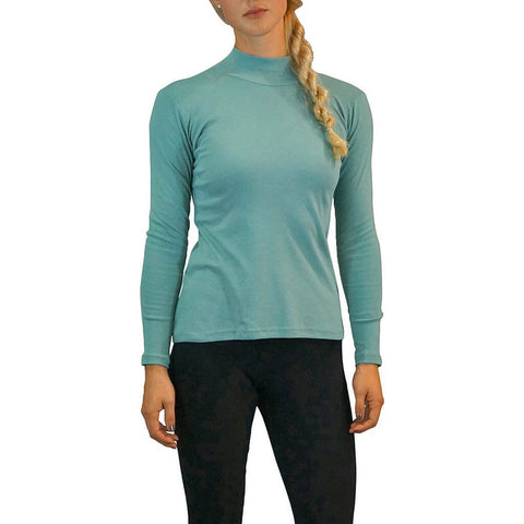 Women's Organic Cotton Long Sleeve Mock Turtle Neck - Smokey Teal - USA Made - Asheville Apparel