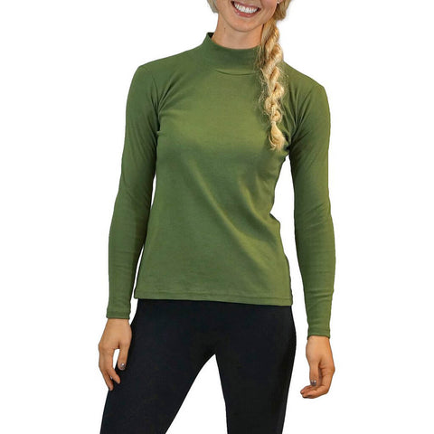Women's Organic Cotton Long Sleeve Mock Turtle Neck - Kelp - USA Made - Asheville Apparel