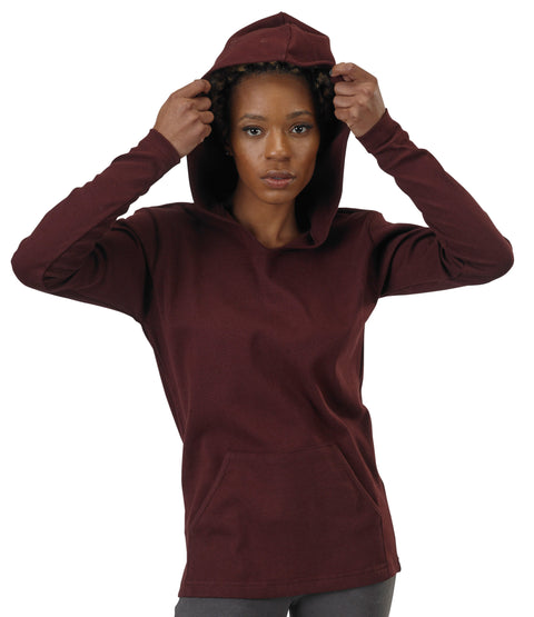 Women's Organic Cotton Rib Hoodie - Oxblood- USA Made - Asheville Apparel