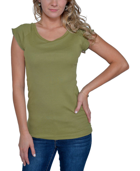 Women's Organic Cotton Short Sleeve Rib Neck Raglan Tee - New Olive - USA Made
