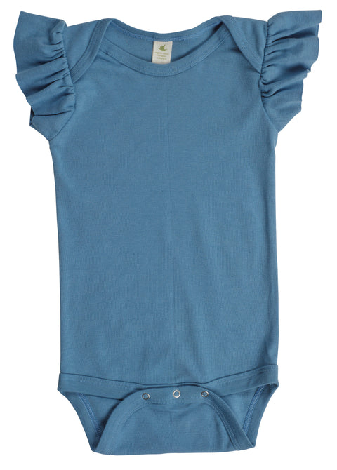 Organic Cotton Ruffle Sleeve Snappie - Columbia Blue - USA Made - Asheville Apparel