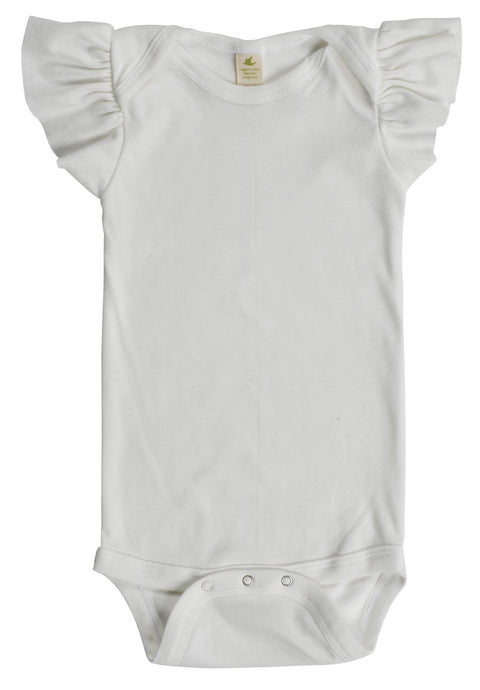 Organic Cotton Ruffle Sleeve Snappie - Peroxide White - USA Made - Asheville Apparel