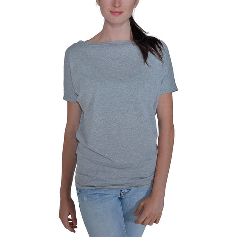 Women's 50/50 Short Sleeve Dolman Tee - Heather Grey - USA Made