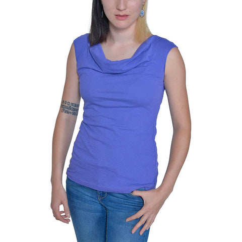 Organic Cotton Cotton Sleeveless Cowl Neck Tee - Amethyst - USA Made - Asheville Apparel