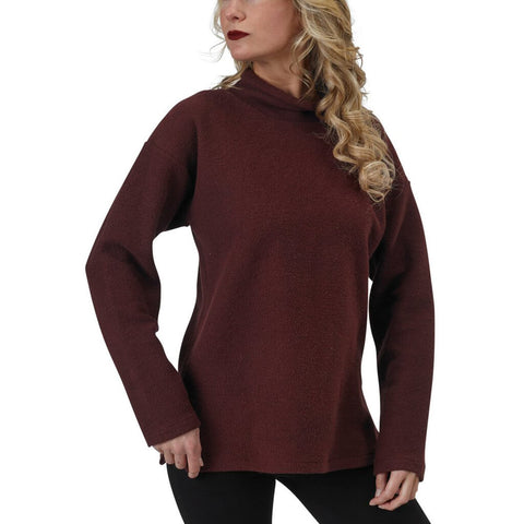 Women's Organic Cotton Terry Weekender Sweatshirt - Oxblood - USA Made
