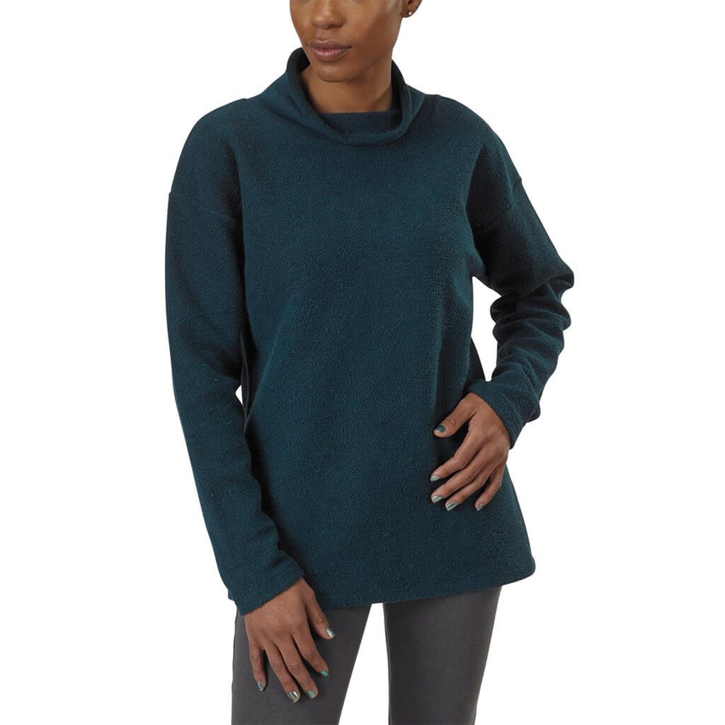 Women's Organic Cotton Terry Weekender Sweatshirt - Reflection Pond - USA Made - Asheville Apparel