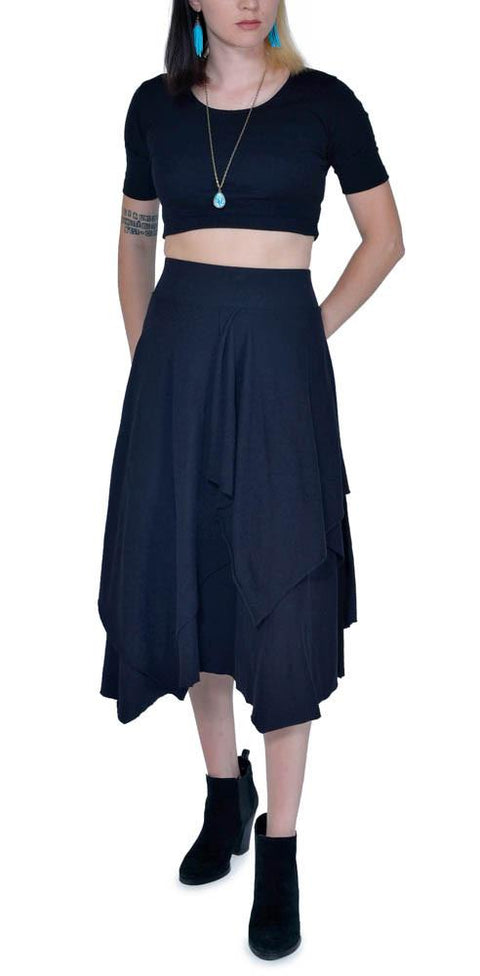 Women's Organic Tri Fab Layered Skirt - Black - USA Made