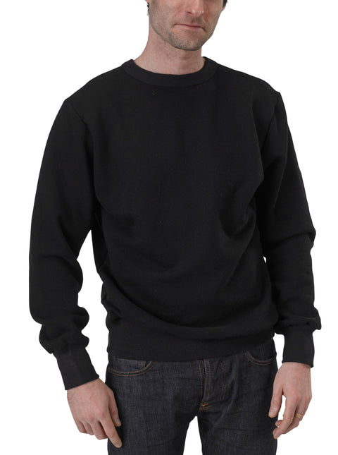Men's Organic Cotton Lightweight Fleece Crewneck Sweatshirt - Black - USA Made - Asheville Apparel