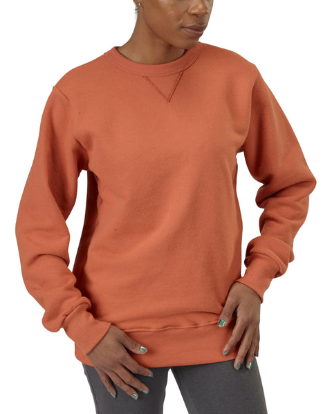 Women's Organic Cotton V-Inset Crewneck Sweatshirt - Hot Sauce - USA Made