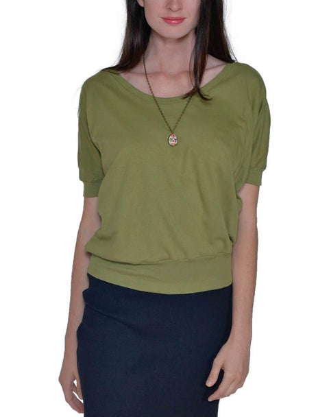 Women's Organic Cotton Short Sleeve Willow Tee - New Olive - USA Made