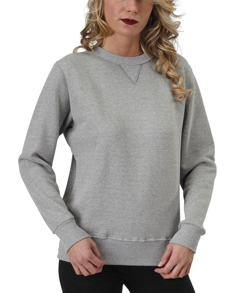 Women's 50/50 V-Inset Crewneck Sweatshirt - Heather Grey - USA Made
