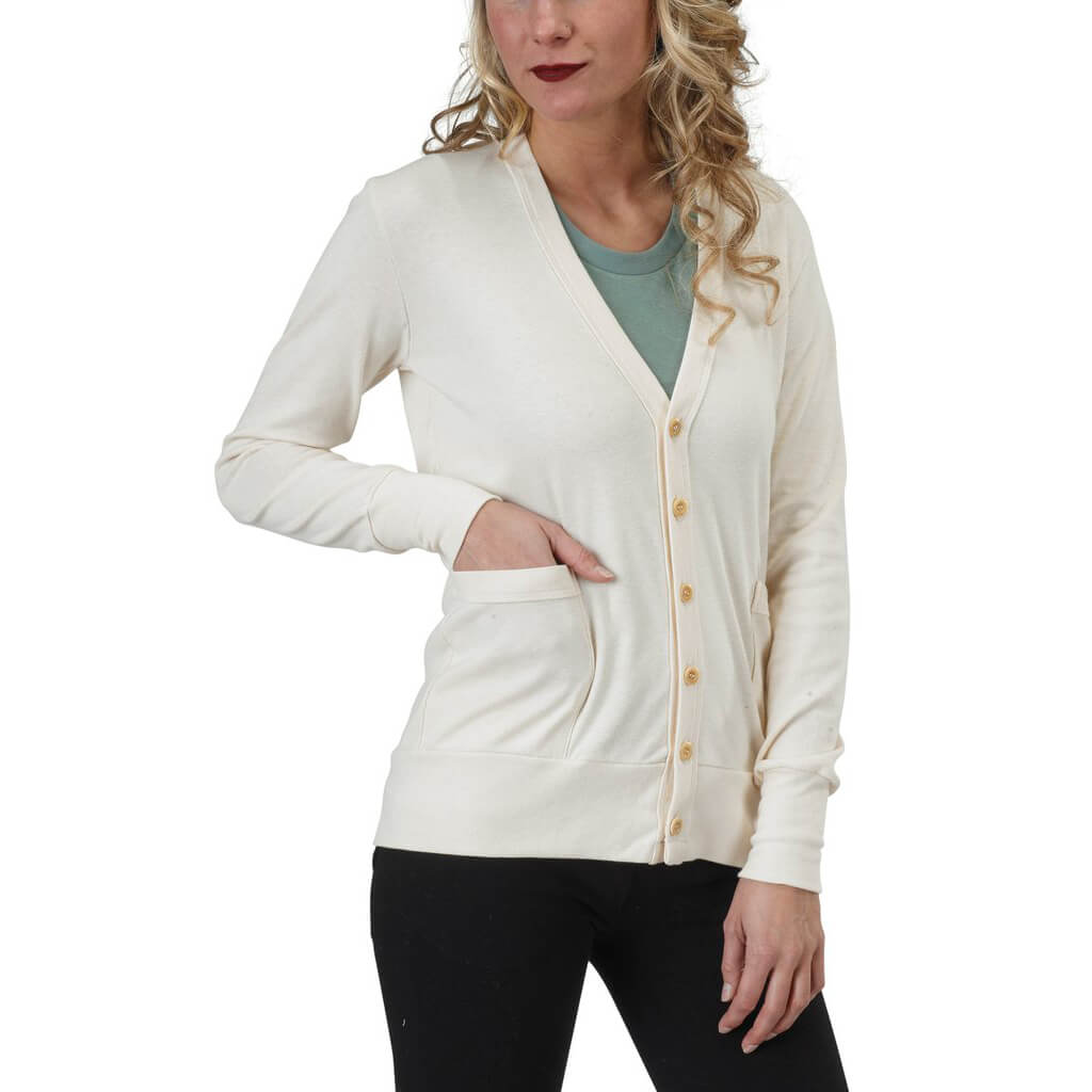 Women's Organic Cotton Craggy Garden Cardigan - Natural - USA Made