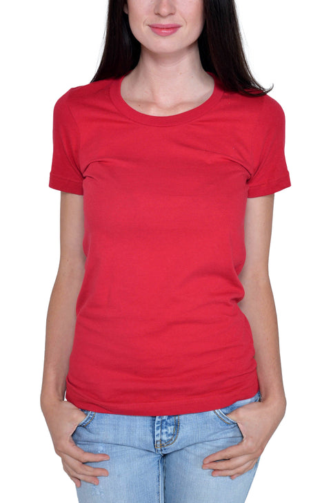 Women's Organic Cotton Short Sleeve Favorite Crewneck Tee - Carmine Red - USA Made