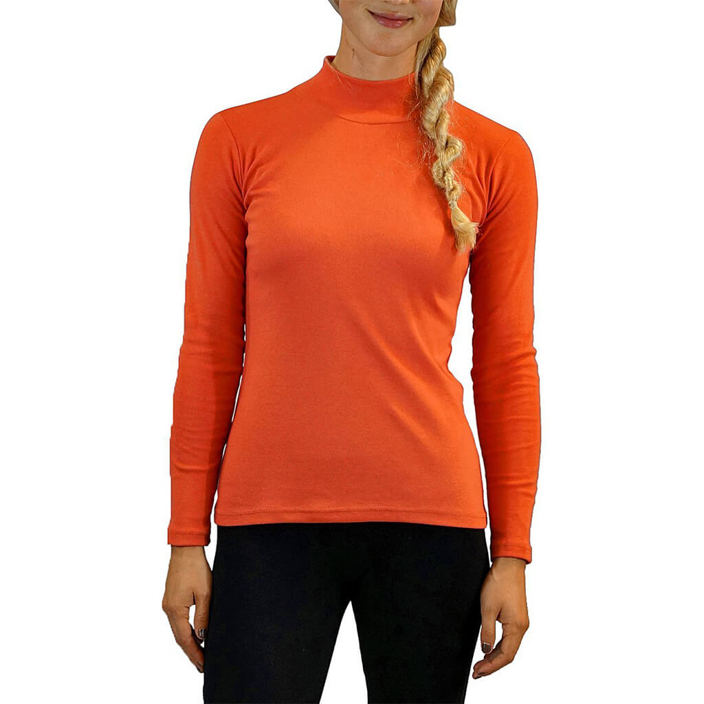 Women's Organic Cotton Long Sleeve Mock Turtle Neck - Firebird - USA Made - Asheville Apparel