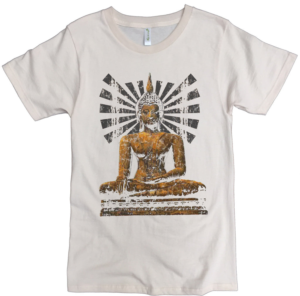 Men's Organic Cotton Classic Crewneck Tee - Sun Buddha Graphic - USA Made - Asheville Apparel