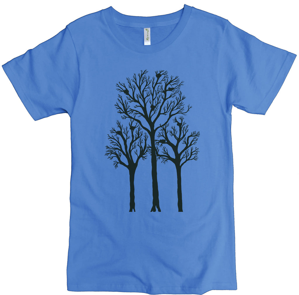 Men's Organic Cotton Classic Crewneck Tee - Trees With Nests Graphic - USA Made - Asheville Apparel