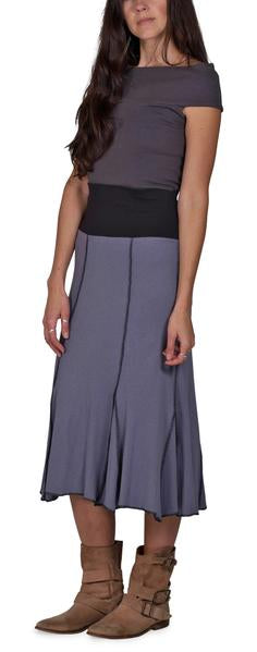 Women's Organic Cotton Long Seamed Flare Skirt - Storm - USA Made