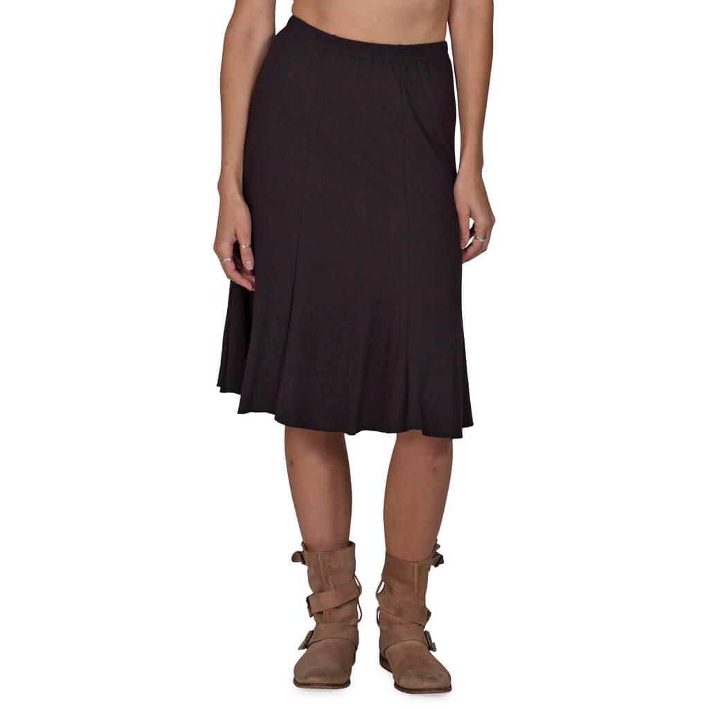 Women's Organic Cotton Bell Skirt - Black - USA Made