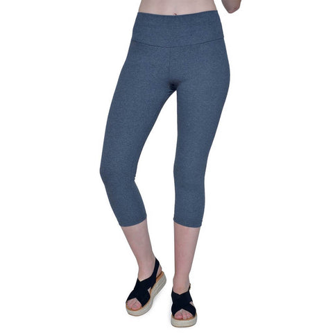 Women's Organic Cotton/Recycled PET/Lycra Capri Leggings - Anthracite - USA Made - Asheville Apparel
