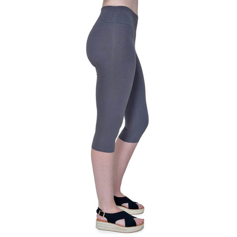 Women's Organic Cotton/Lycra Capri Leggings - Graphite - USA Made