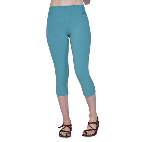 Women's Organic Cotton/Lycra Capri Leggings - Smokey Teal - USA Made