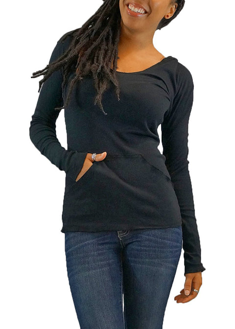 Women's Organic Cotton Raw Rib Hoodie - Black - USA Made