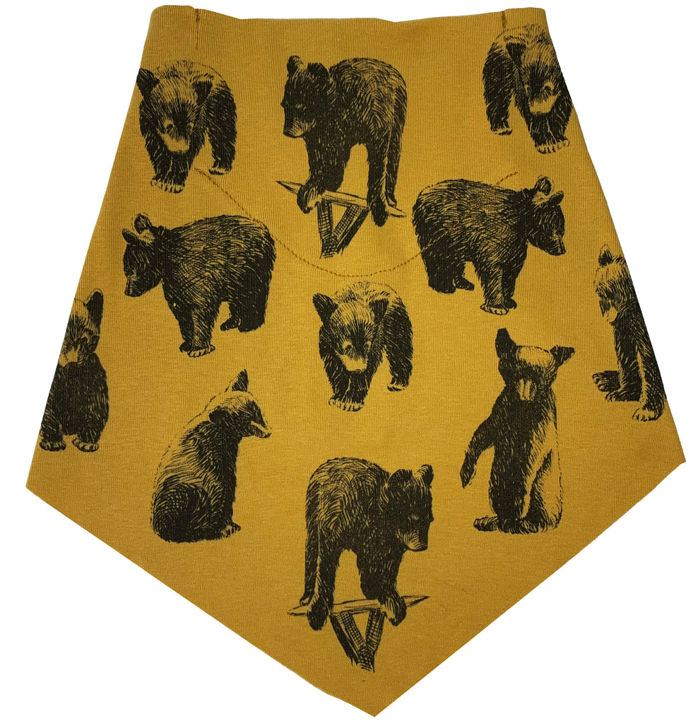 Adult | Organic Cotton | Filter Infinity Bandana | Black Bears | Honey | USA Made