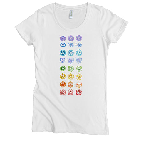 Chakras Graphic Tee | Organic Cotton | Short Sleeve Women's Favorite Crewneck Tee | White | USA Made