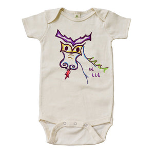 Dragon Daisy Graphic Snappie | Organic Cotton | Short Sleeve Baby Bodysuit | Natural | USA Made