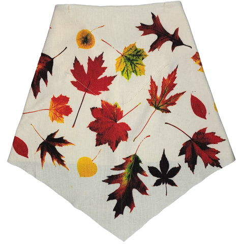 Adult | Organic Cotton | Filter Infinity Bandana | Fall Leaves | Natural | USA Made