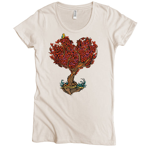 Heart Tree Graphic Tee | Organic Cotton | Short Sleeve Women's Favorite Crewneck Tee | Natural | USA Made