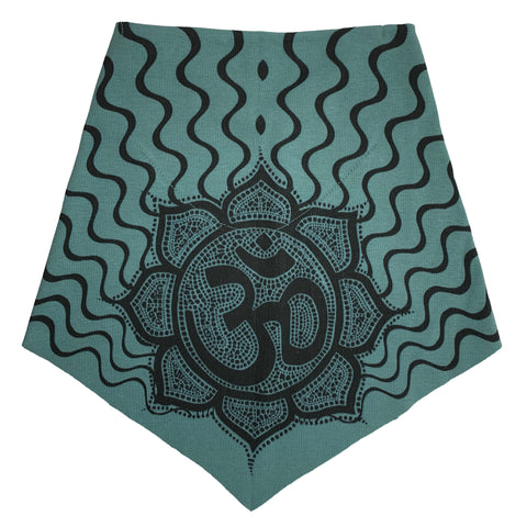 Adult | Organic Cotton | Filter Infinity Bandana | Om | Smokey Teal | USA Made