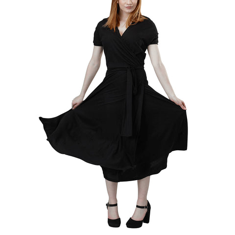 Leotte Wrap Dress | Black Tencel