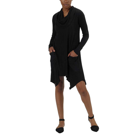 Long Sleeve Colette Drape Dress | Black Tencel